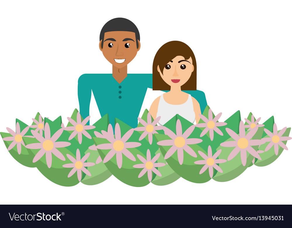 Couple romantic flowers ornament image vector image