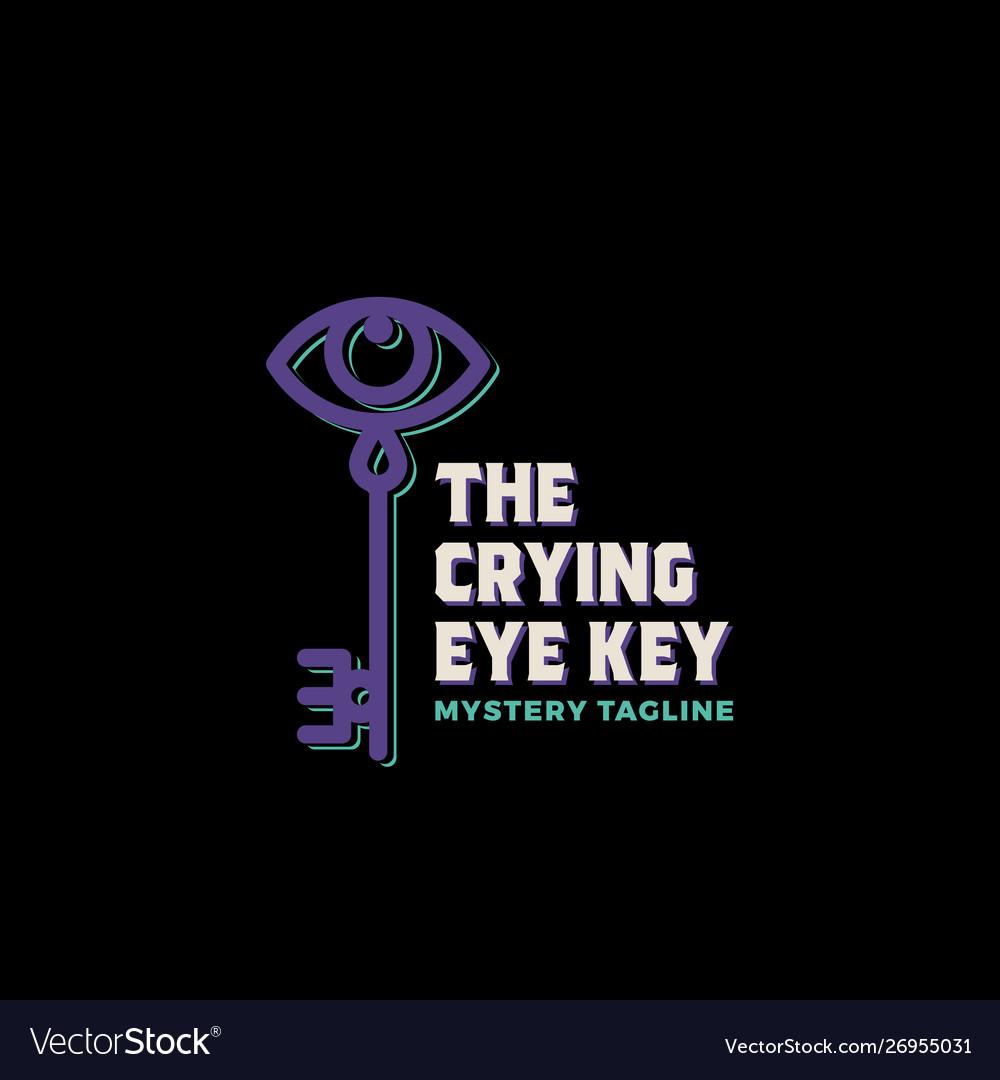 Crying eye key abstract sign symbol