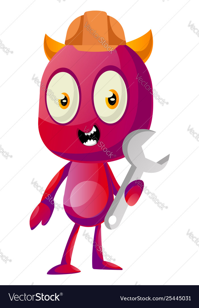 Devil with wrench on white background