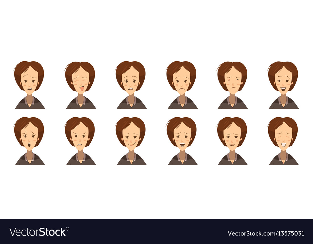 Female emotions avatars set cartoon style vector image
