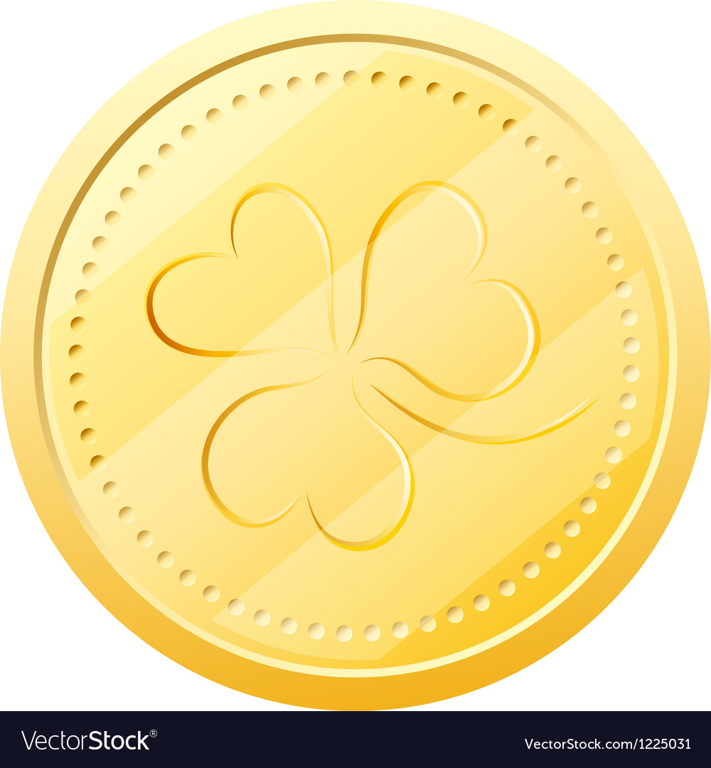 Gold Coin With Clover Symbol Of St Patricks Day Vector Image
