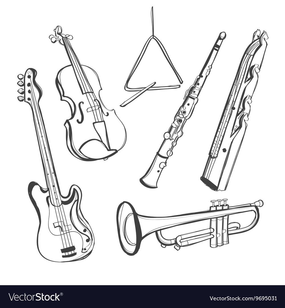 Hand-drawn instruments vector image