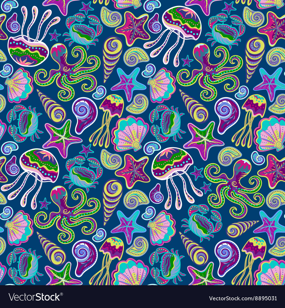 Hand drawn seamless pattern with jellyfish