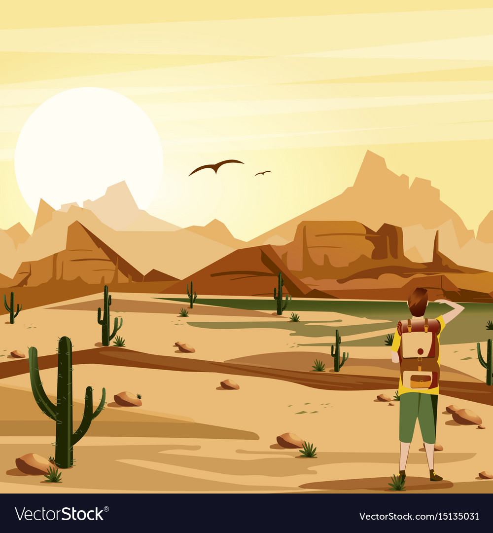 Landscape background desert with traveler cacti vector image