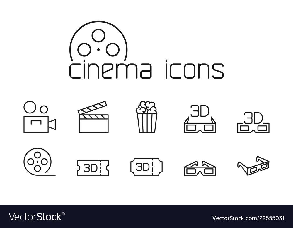 Line cinema icons set on white background