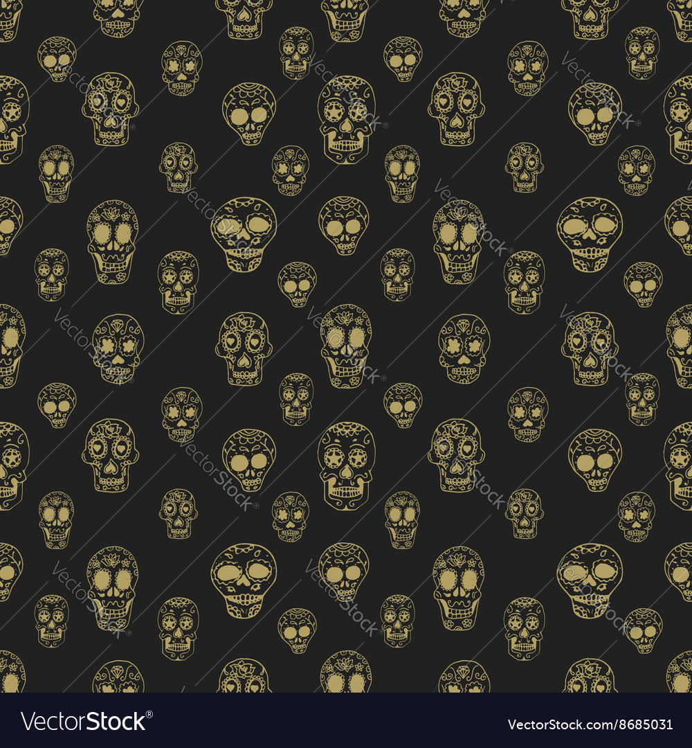 Seamless pattern with sugar skulls