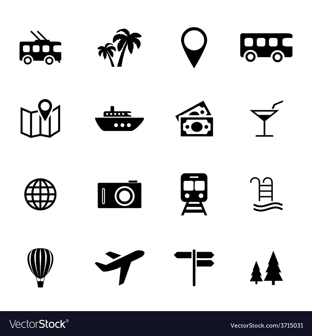 Set of flat icons - holiday travel and tourism