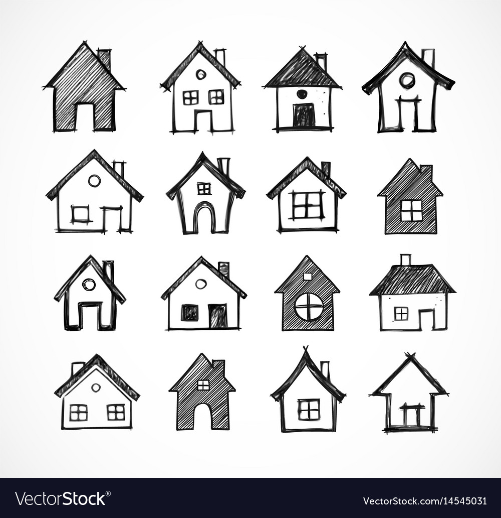 Sketch of houses on white background