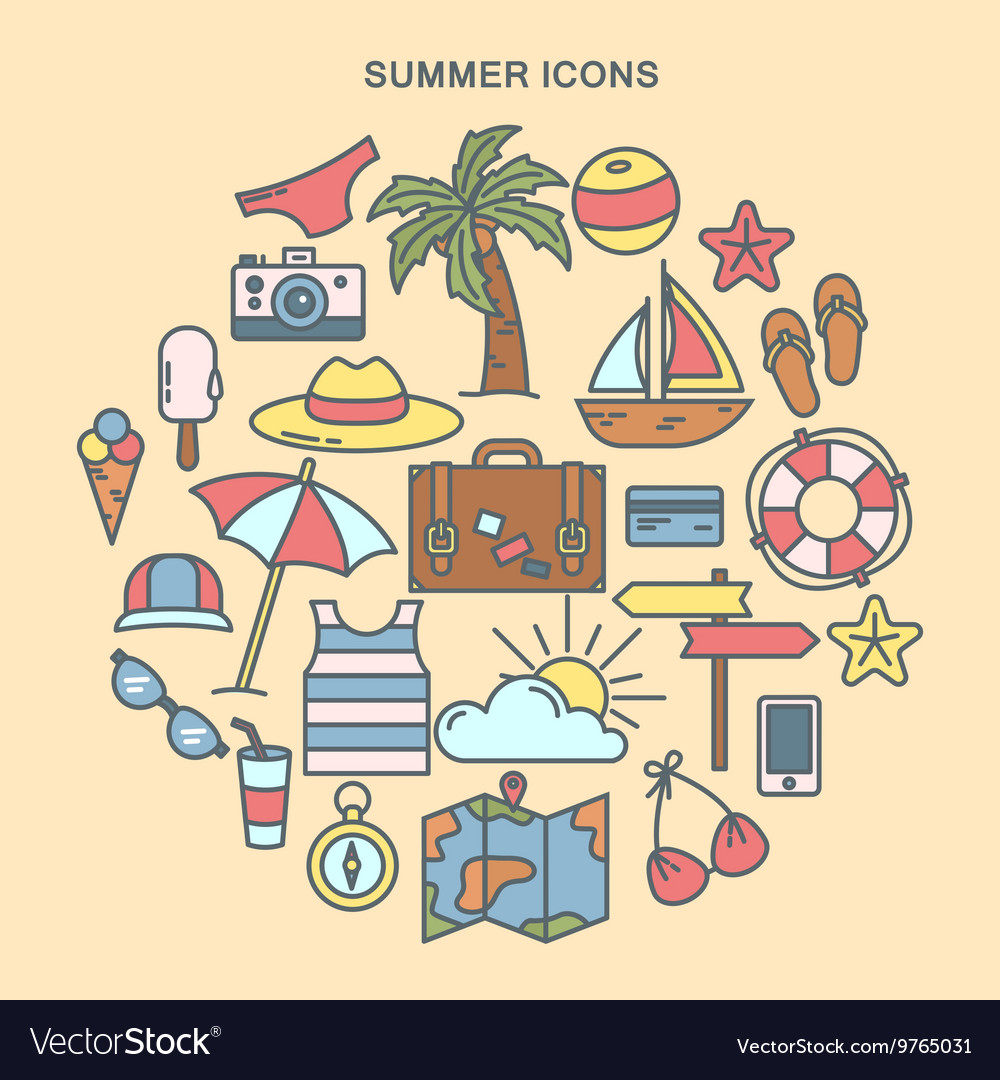Summer Time Set of Summer Icons