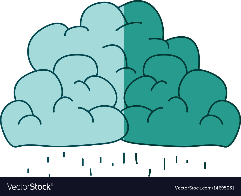 Watercolor silhouette of clouds with the rain