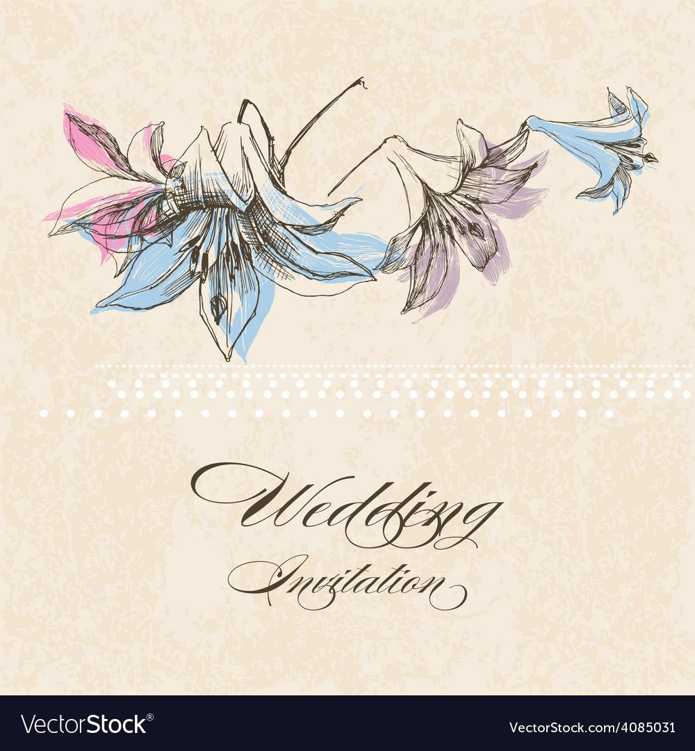 Wedding Invitation Lily Flower Decoration Vector Image