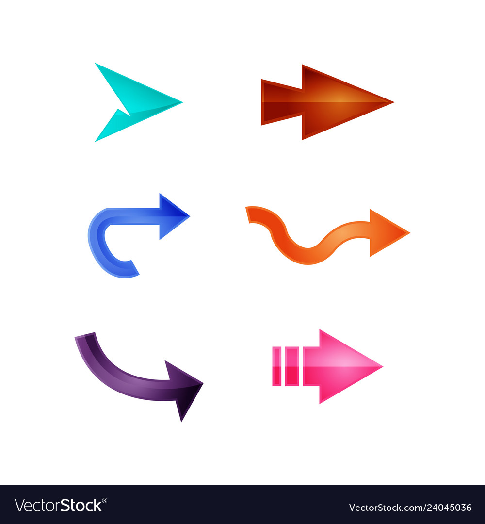 Arrows set of colored shiny icons