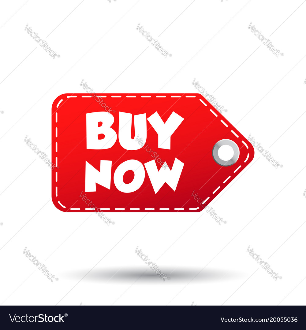 Buy now hang tag label on white background