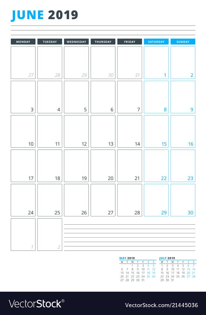 Calendar Template For June 2019 Business Planner Vector Image