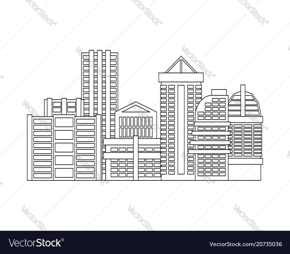 City is linear style town isolated many buildings
