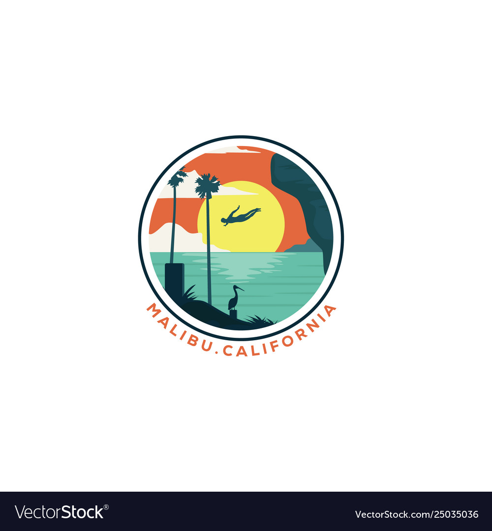 Cliff diving california beach logo designs vector