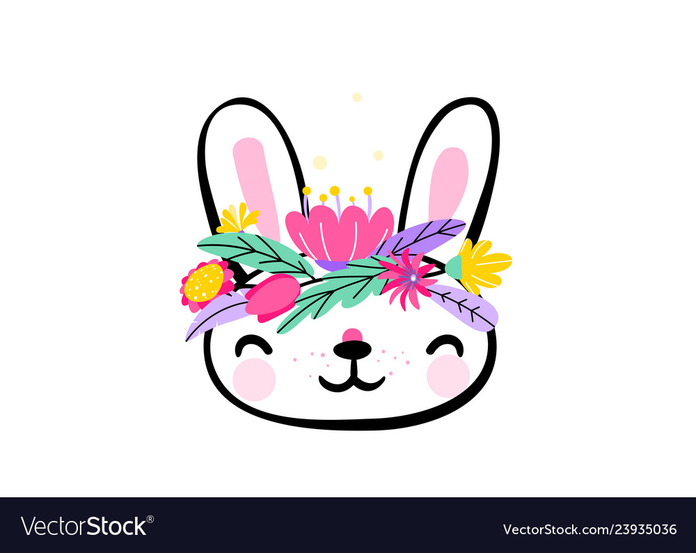 Cute easter bunny face with minimal fantasy spring
