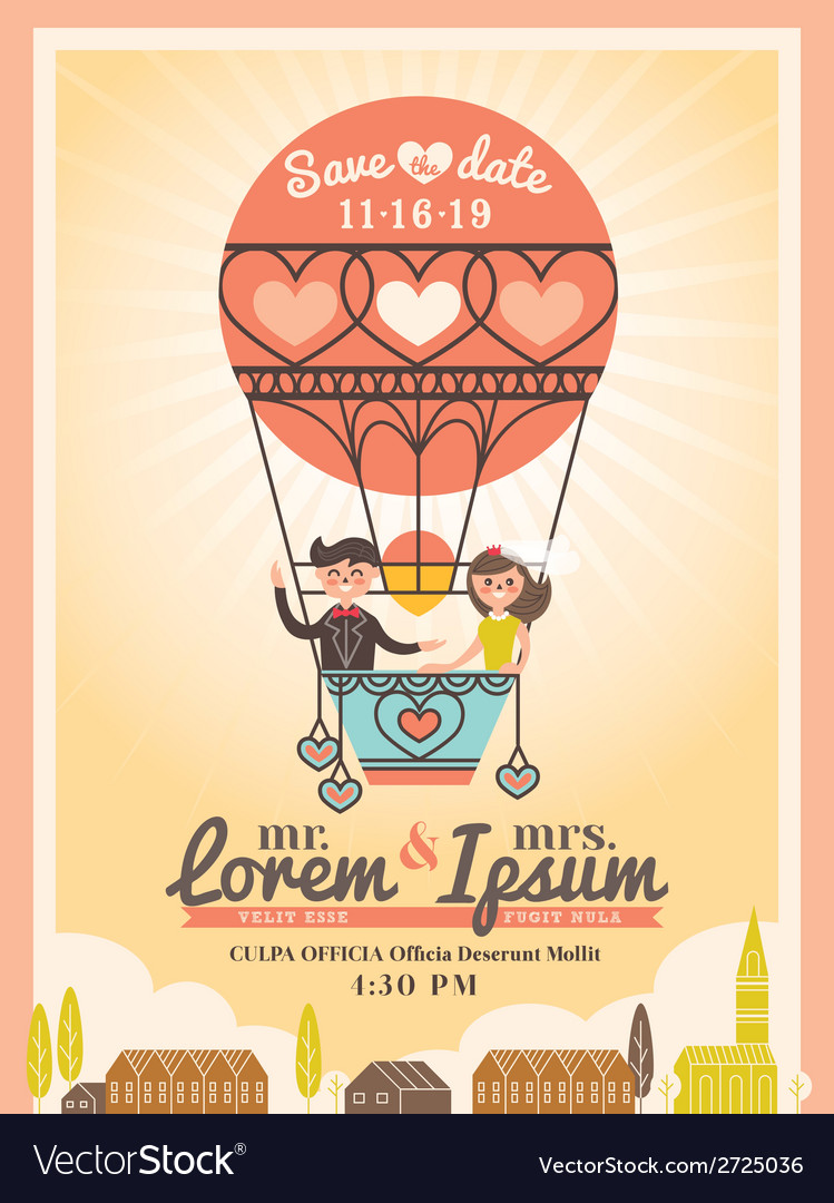 Cute groom and bride on balloon wedding invitation