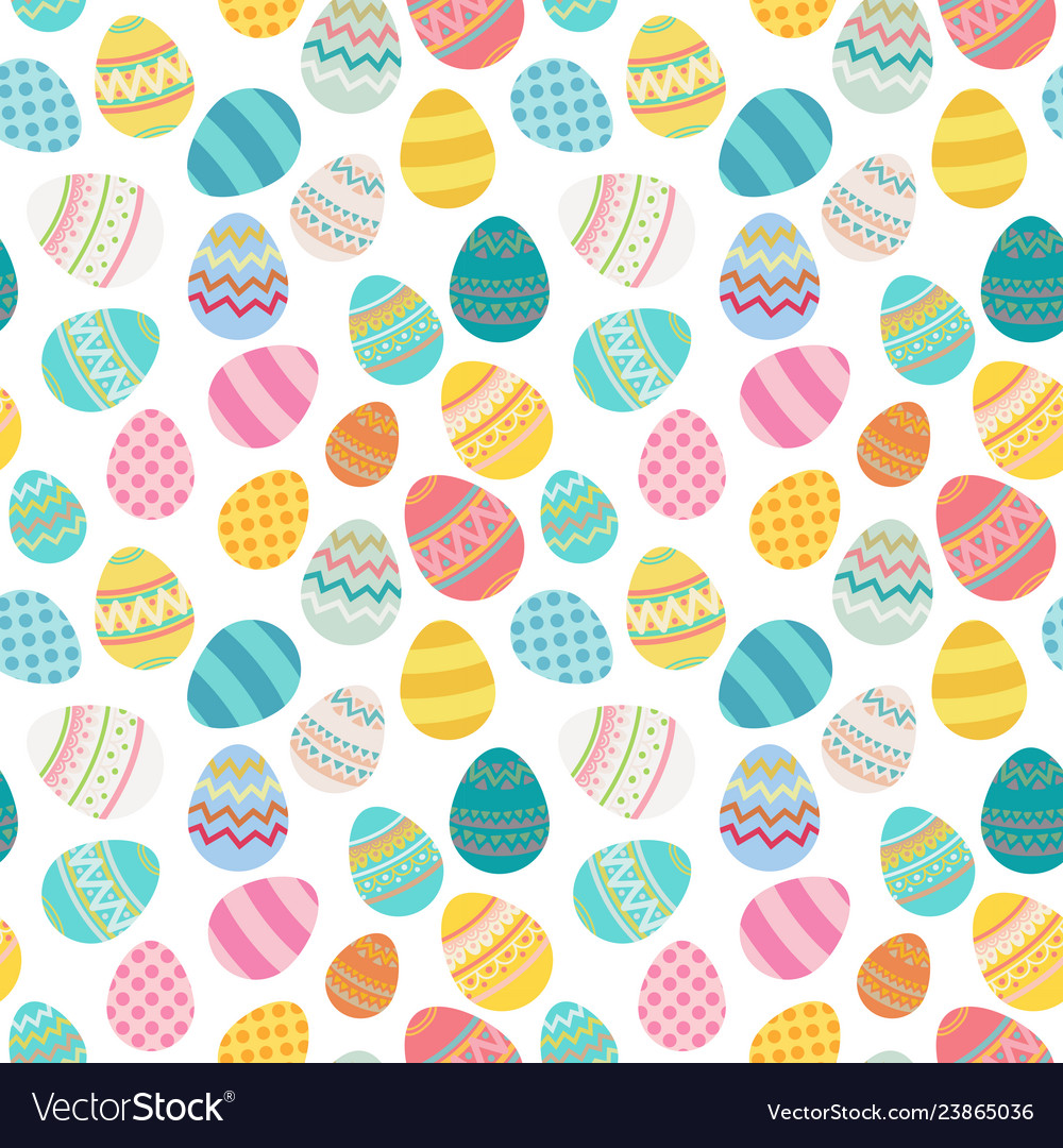 Easter egg seamless pattern bright colored