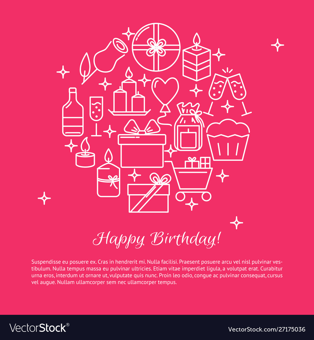 Happy birthday round concept banner template in