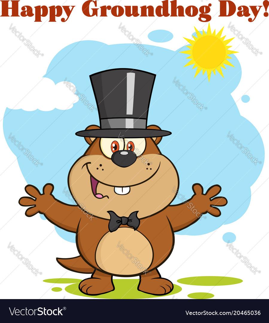 Happy marmot cartoon character vector image