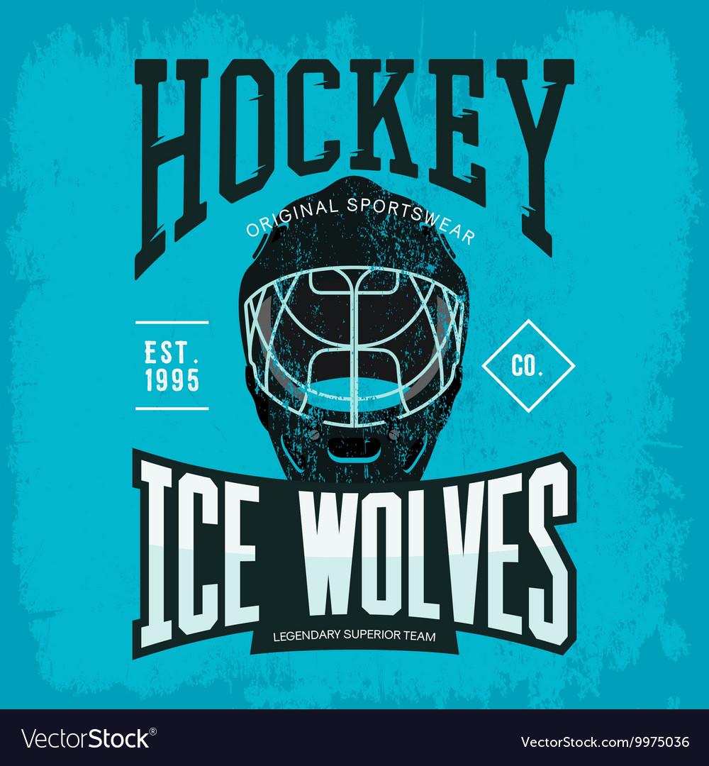 Hockey helmet as sport team badge or logo vector image