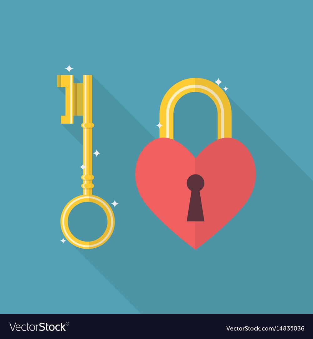 Lock heart flat icon