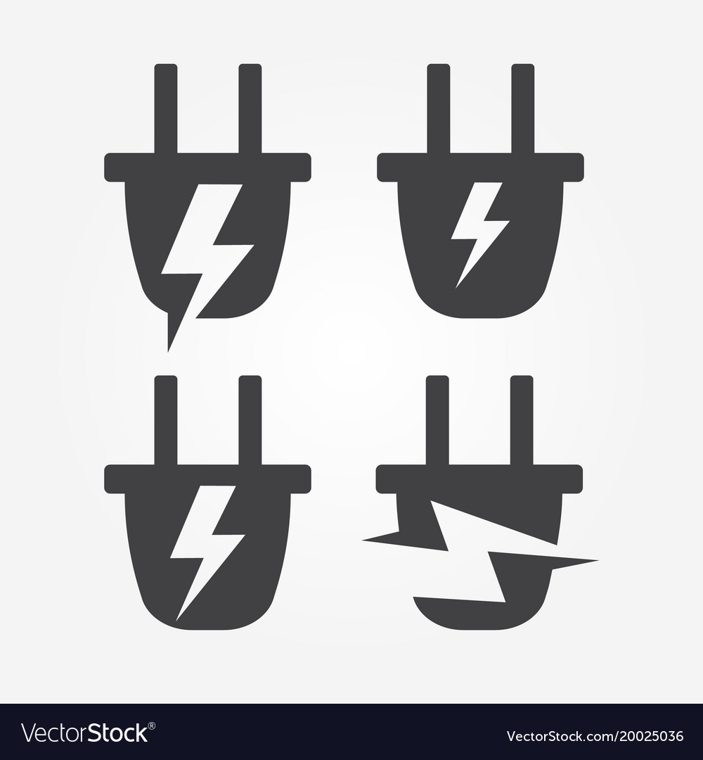 Plug into socket with lightning energy logo