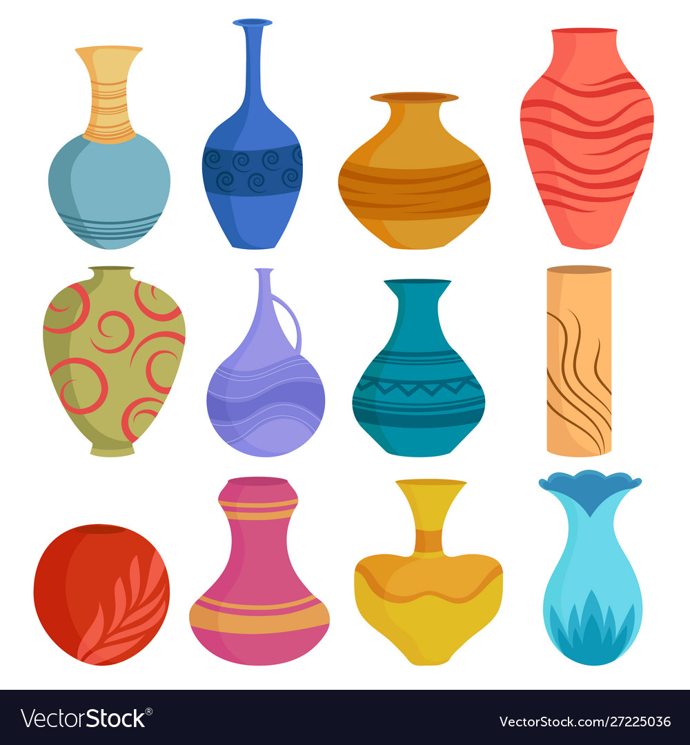 Set cartoon ceramic vases colored ceramics