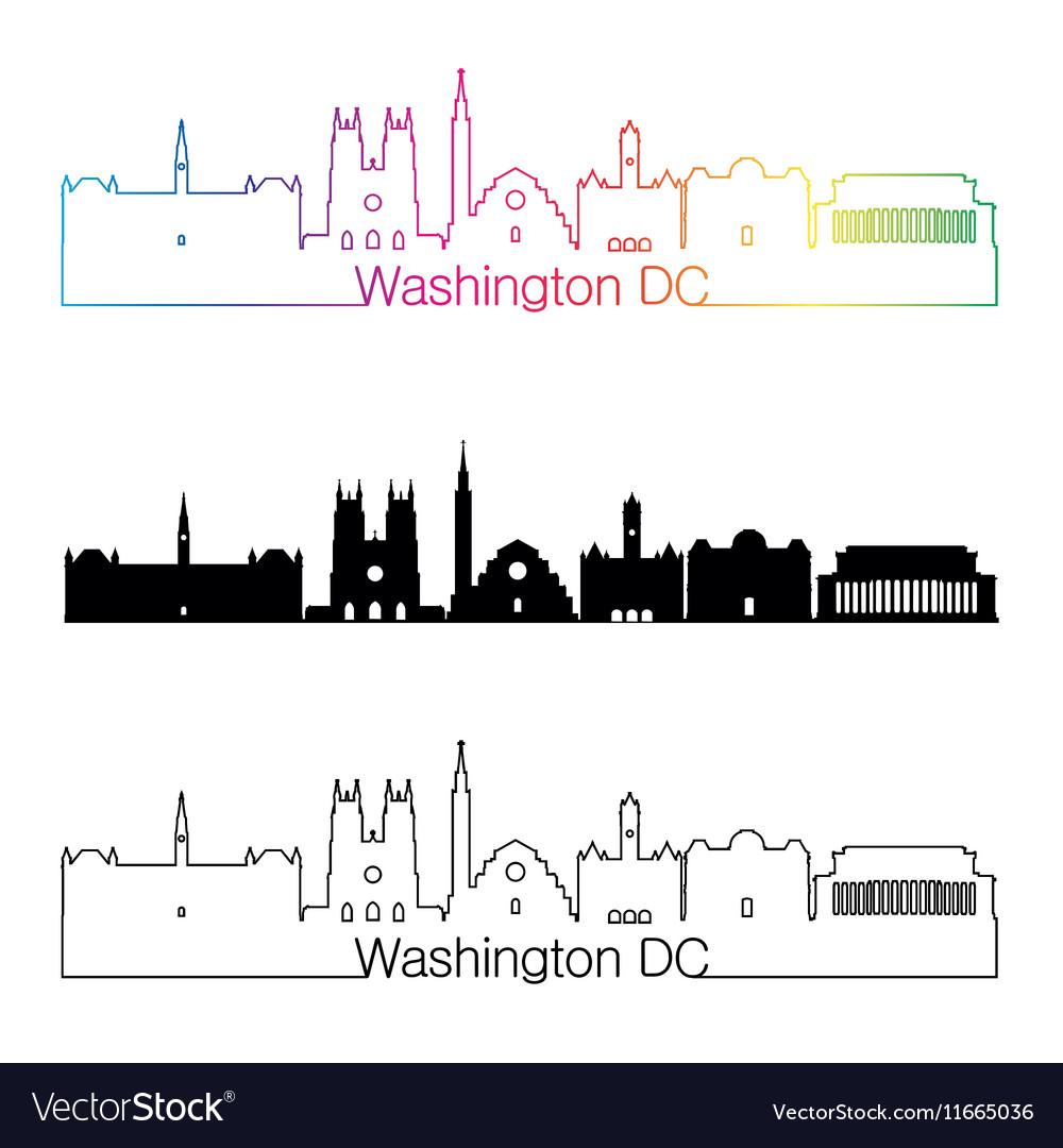 Washington DC V2 skyline linear style with rainbow vector image