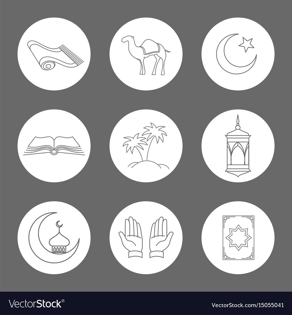 Arabic linear icons set vector image