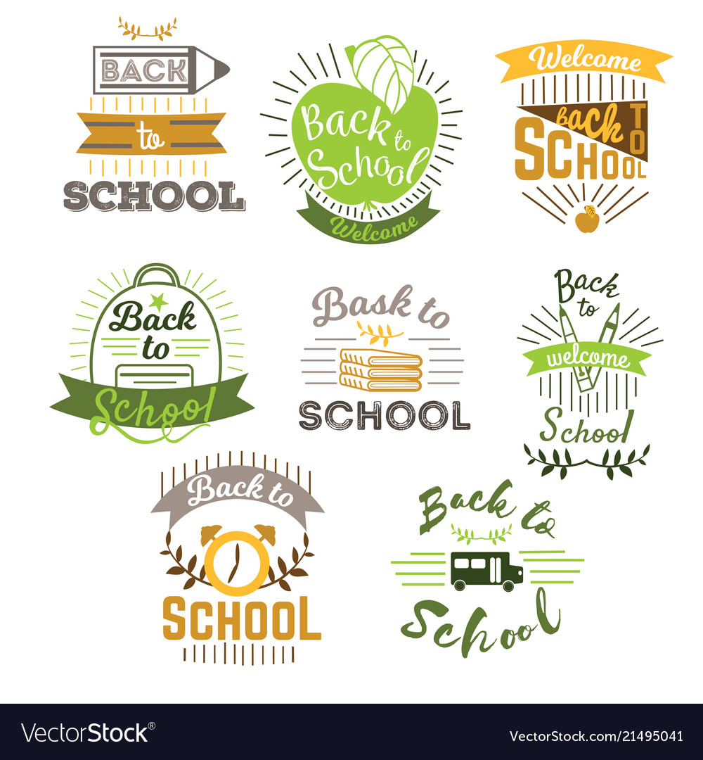 Big set of welcome back to school labels and logo