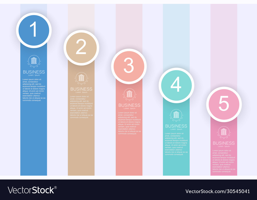 Business process chart infographics with 5 step