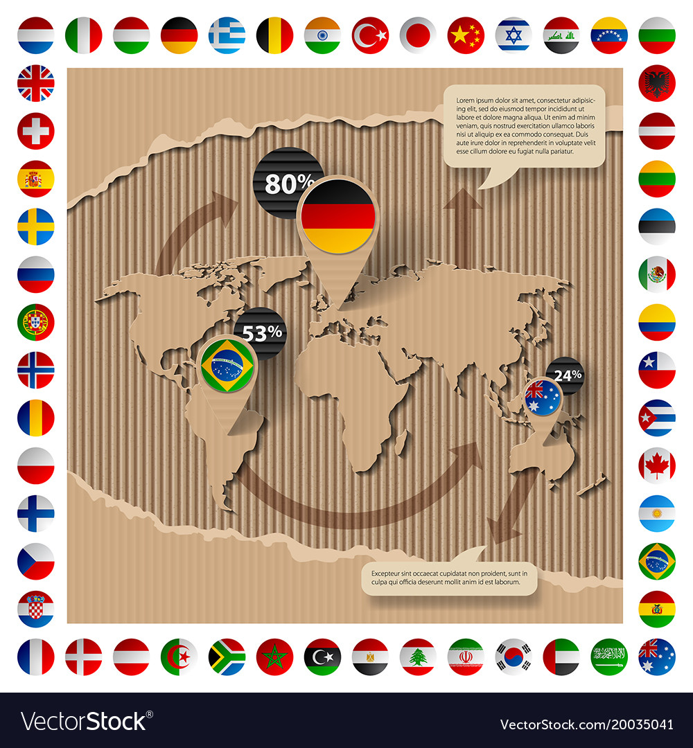 Cardboard template with world map and flags vector image gumiabroncs Image collections