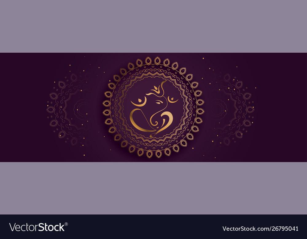 Decorative lord ganesha design golden banner