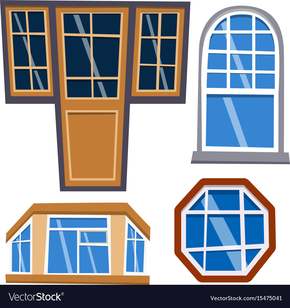 Different types house windows elements flat style
