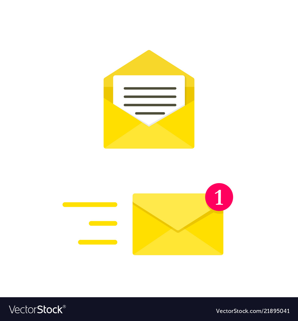 Email envelope concept digital mail yellow