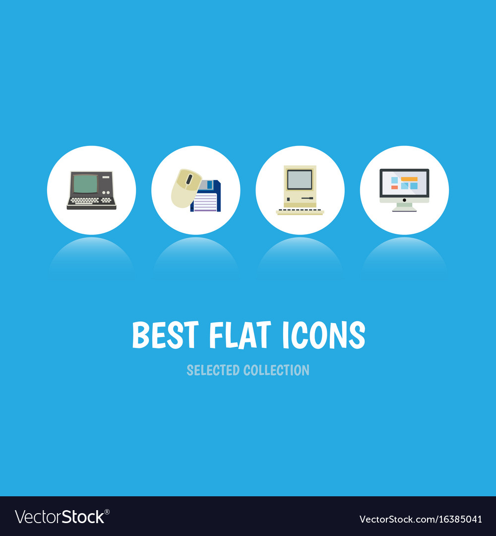 Flat icon laptop set of technology computing vector image
