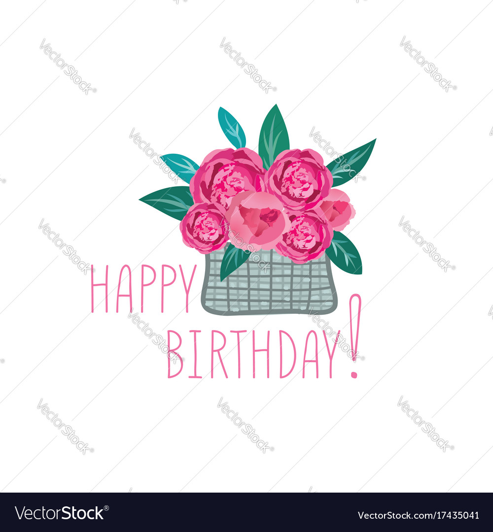 flower in basket happy birthday greeting card vector image - Happy Birthday Cards Flowers
