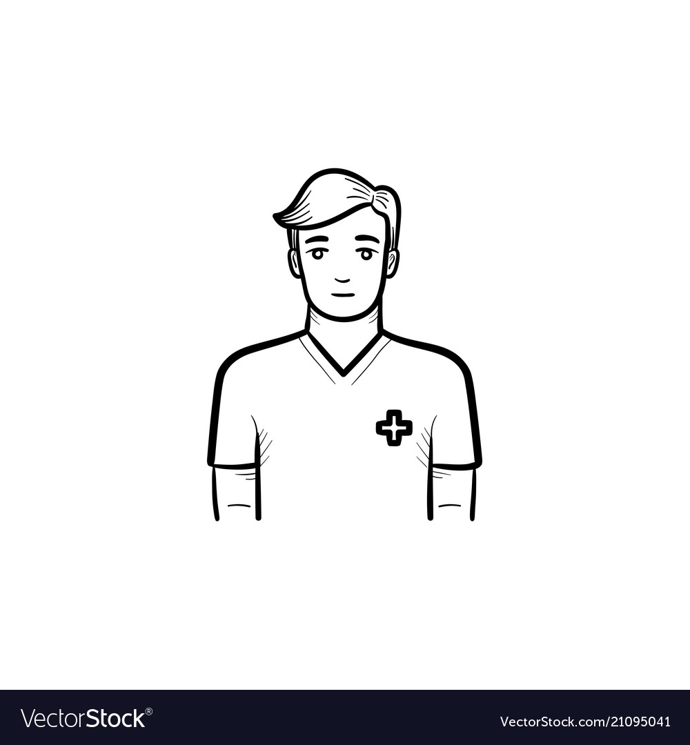 Male nurse hand drawn outline doodle icon