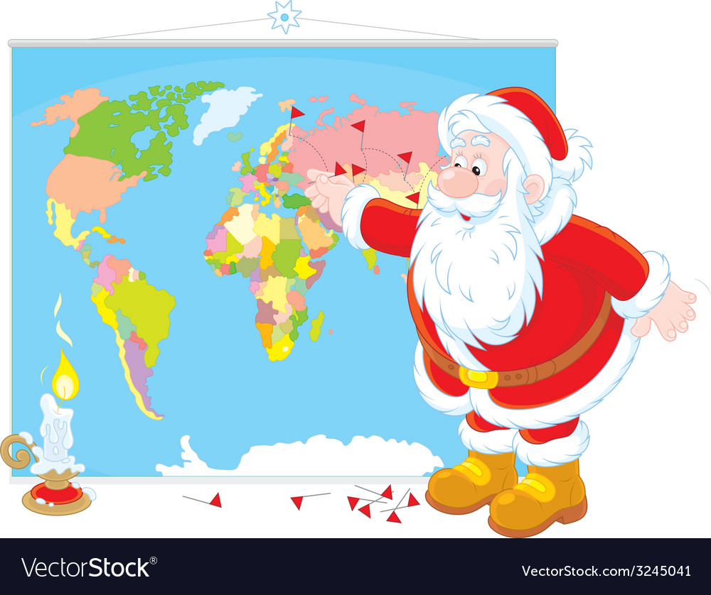 Santa Claus with a world map on oolitic map, oats map, tell city map, gulf of antalya on a map, headless horseman map, splashin safari map, santa and his reindeer, north pole map, track santa map, christmas map,