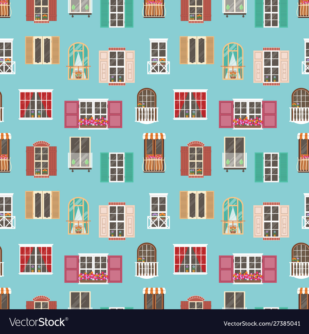 Seamless pattern with various type house window