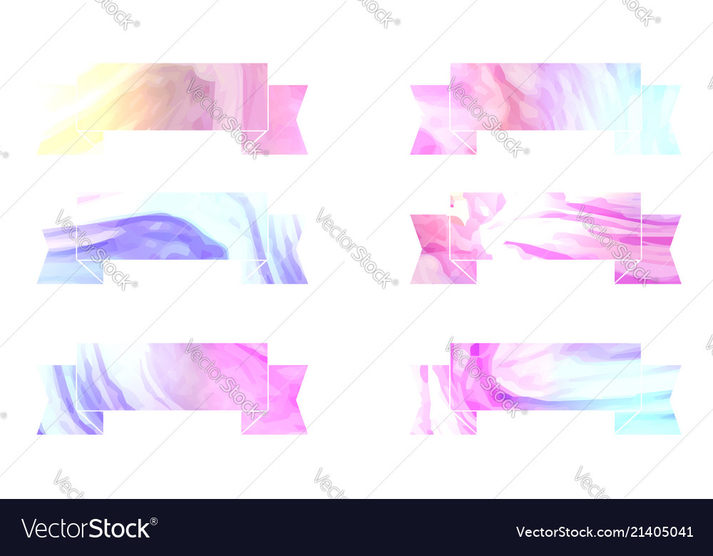 Set of foil colorful ribbons with holographic