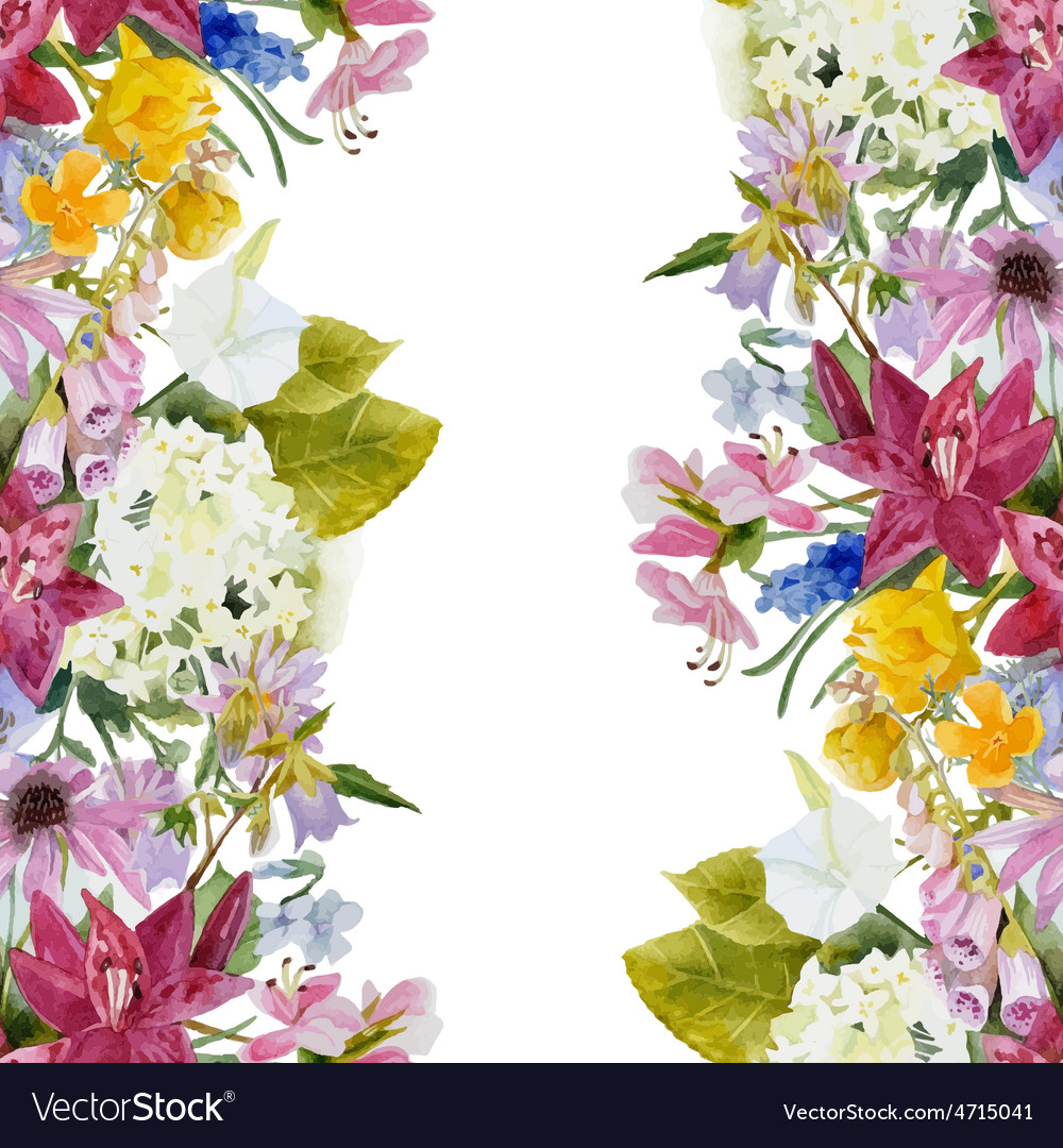 Watercolor floral seamless border