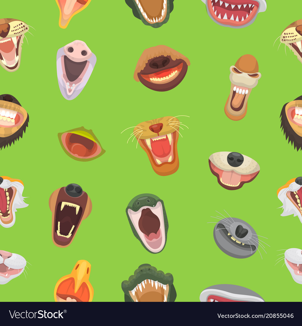 Animals mouth open jaw with teeth or fangs