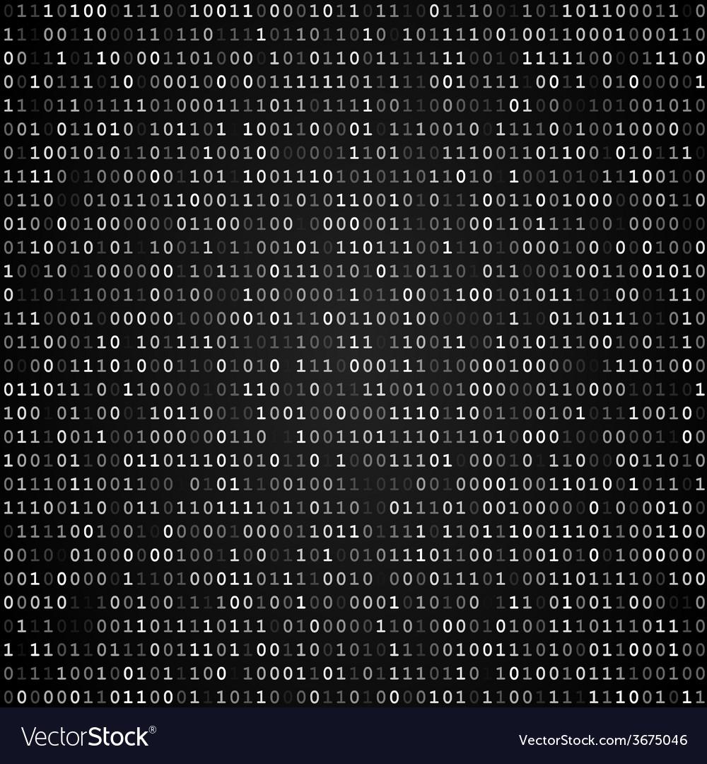 Binary code screen black vector image