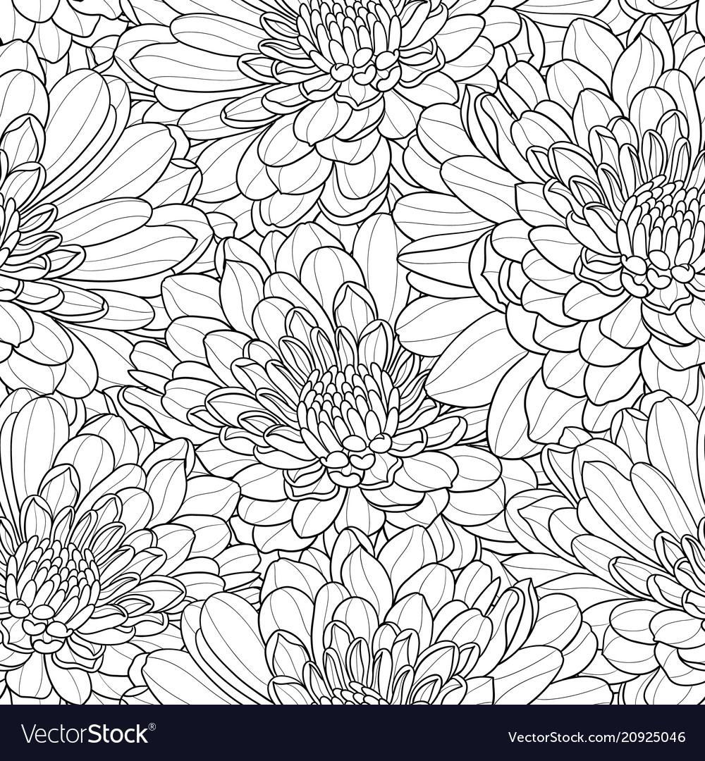 Black and white flower seamless hand drawn