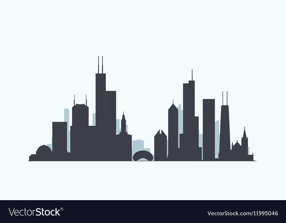 chicago skyline silhouette royalty free vector image