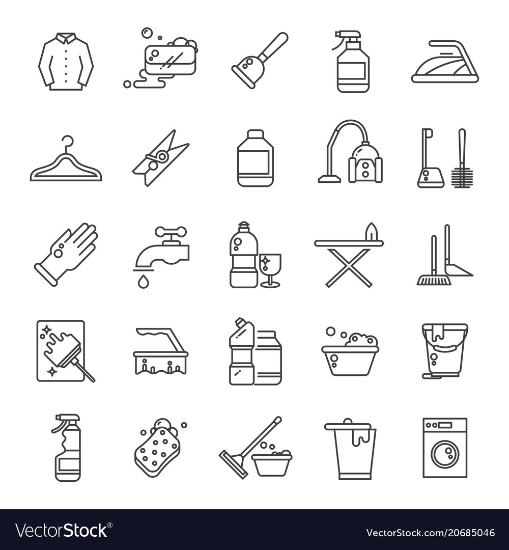 Cleaning and washing house laundry outline