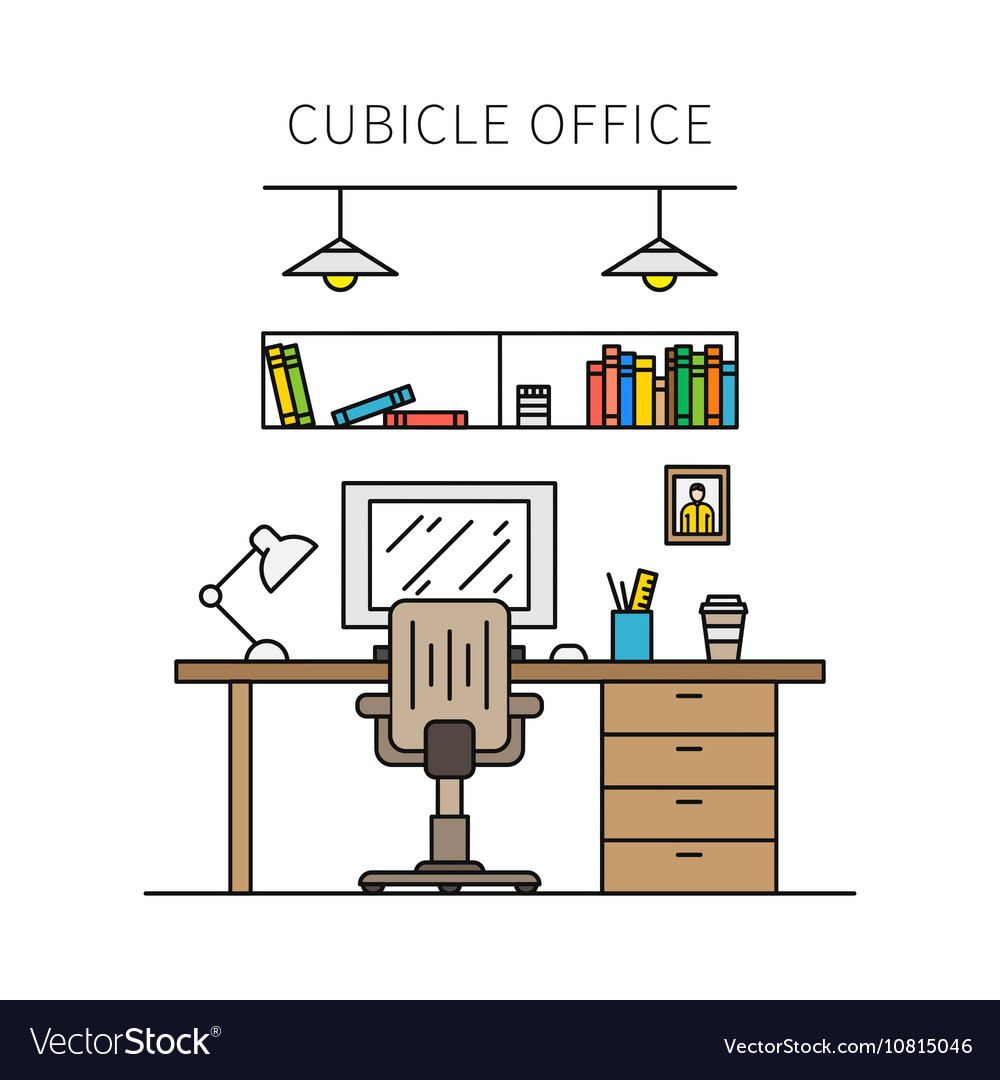 Cubicle office with furniture and equipment